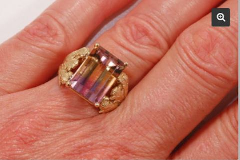 14K GOLD Provencal Balcony 7.96 ct Ametrine Ring