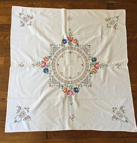 Small Embroidered Tea Towel Tablecloth