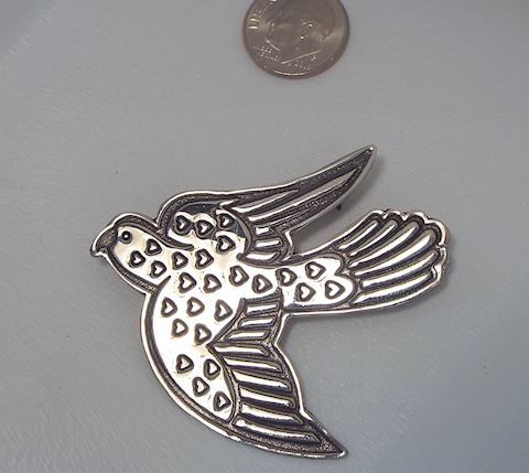 Sterling Silver Dove w Hearts Brooch, Love Dove!