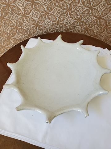 Cream sun shaped handmade pottery platter