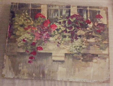 Original Floral Oil on Burlap - Unframed