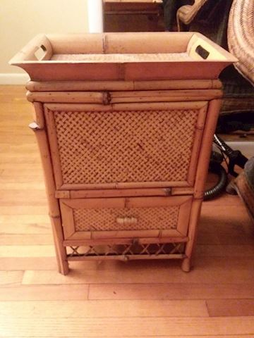 Rattan Liquor Cabinet Removable Serving Tray