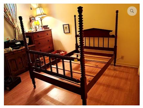 Antique Bed Frame Mahogany Post