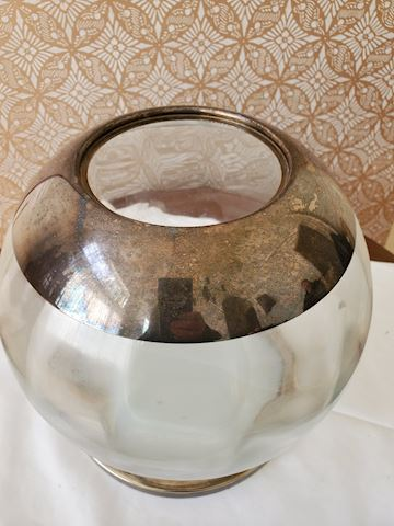 Glass bowl with silver-plate rim and tray
