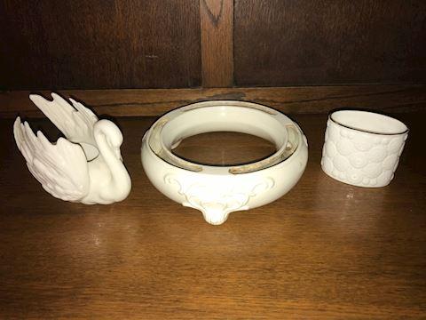 Lot of 3 White Porcelain Decor