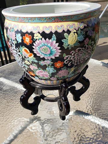 Black Floral Goldfish bowl