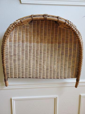 Light brown woven bark Japanese gathering basket