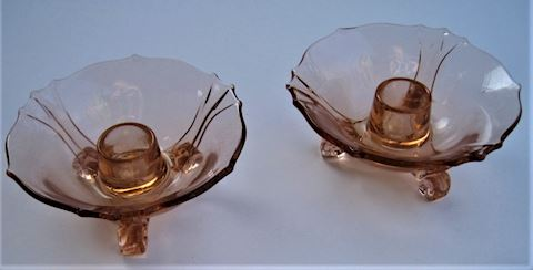 Pink Depression Glass Candle Holders, Pair