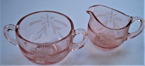 Pink Depression Glass Creamer & Sugar