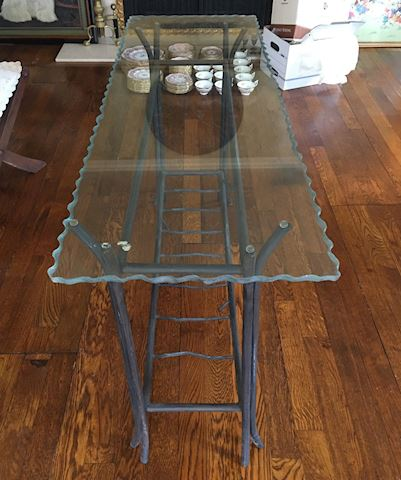 Rustic Glass & Wrought Iron Sofa Hall Table