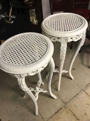 White Wicker Plant Stands