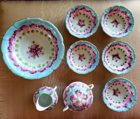 8 Piece Antique German Porcelain Berry Set