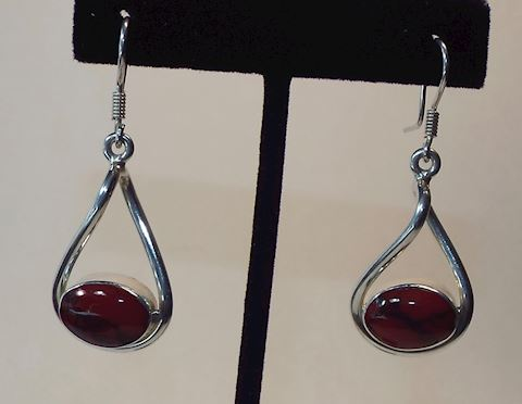 Sterling Silver & Red Jasper Dangle Twist Earrings