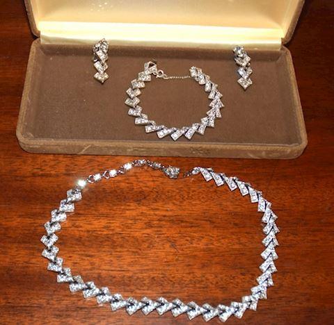 Vintage Bogoff Rhinestone Costume Jewelry Set