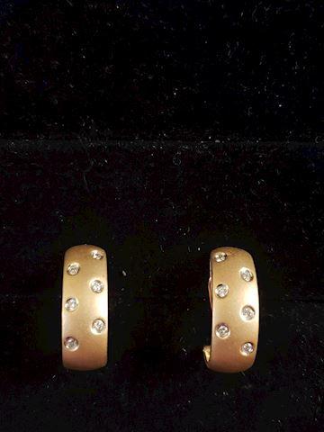 14k Gold Brushed Finish Earrings