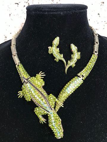 Crstal alligator necklace earring set
