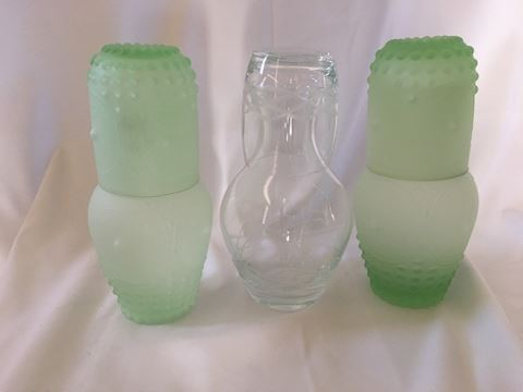Lot of 3 Glass Night Bedside Carafes