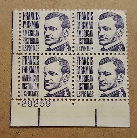 Plate Block of 4 Francis Parkman 3 cent Stamps