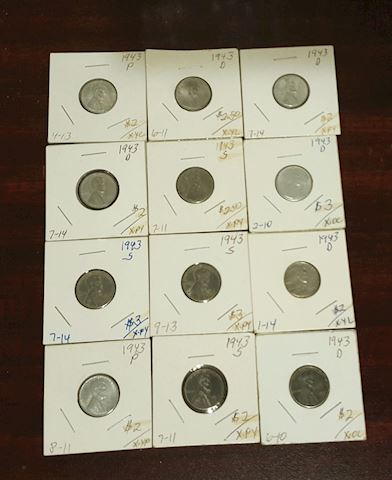 Collection of 12 Steel 1943 Wheat Cent Pennies