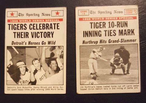 2  Detroit Tigers World Series Win Baseball Cards