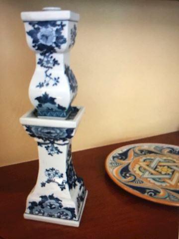 2 Blue Candle holders ceramics