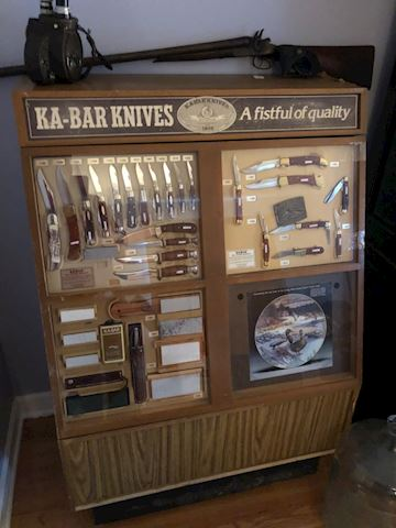 Vintage Ka Bar display with original knives