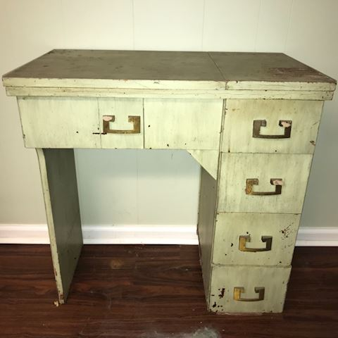 Vintage painted sewing machine cabinet