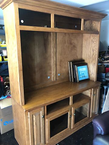 Oak Entertainment Center - TV console hutch Lot02