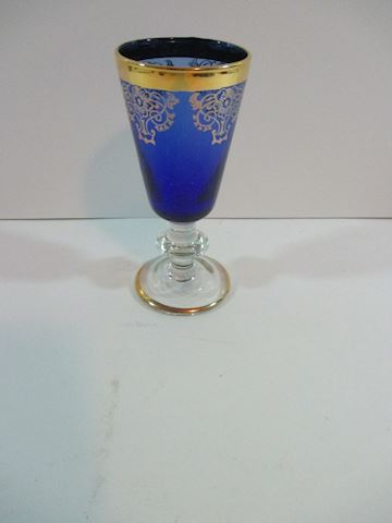 Vintage /Antique Cobalt Blue/Gold Trim Mini Glass