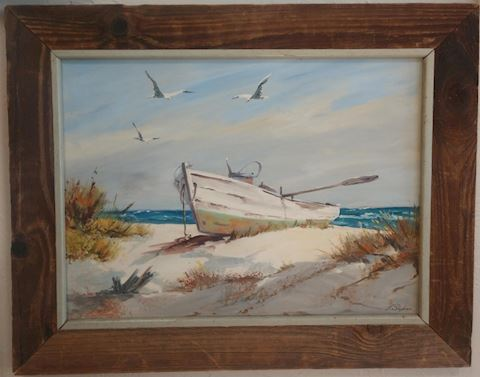 Framed Rowboat Painting by J.Stephen