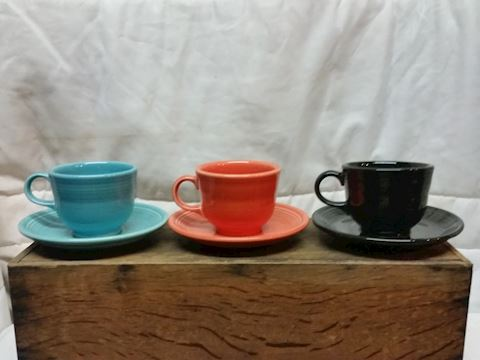 3x Fiesta ware teacups with saucers