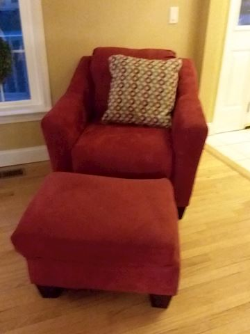 Red Upholstered Comfy Chair with Foot Stool