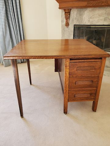 Square vintage desk with drawers