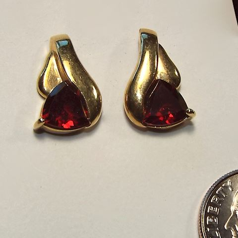 14K Yellow Gold & Red Garnet Earrings