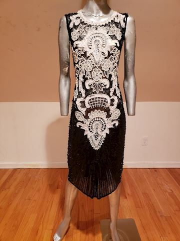 Flapper Layering silk heavily beaded dress vtg