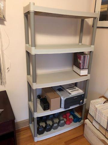 Plastic storage shelf, 5 shelves