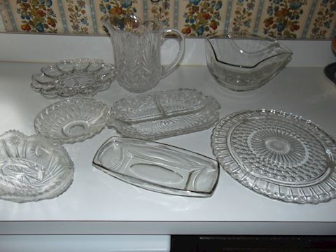 Clear Crystal Serving Pieces, Vintage
