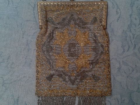 ANTIQUE BEADED PURSE BAG MESH GOLD SILVER