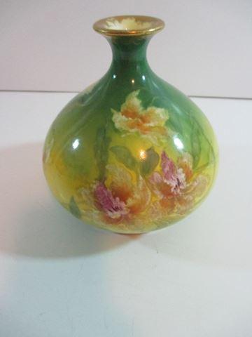 Vtg Potbelly limoges Vase Signed