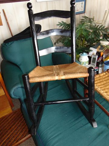 Vintage Rocker and Wicker Stool
