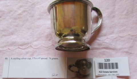 #120- Sterling silver baby cup