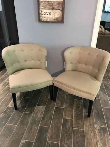 Pair of Beautiful  Button Tufted Tan chairs
