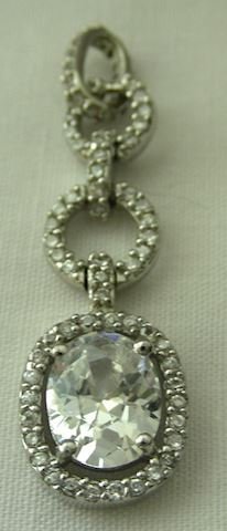 Sterling Silver and Cubic Zirconia  CZ Pendant