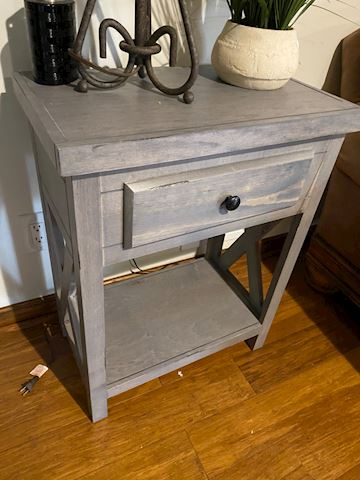 Farm House Rustic Gray Side Table
