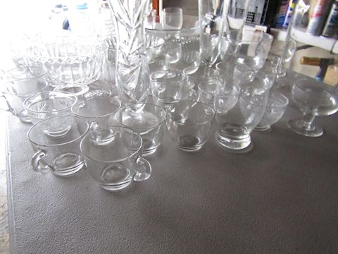 LARGE LOT OF CLEAR GLASS