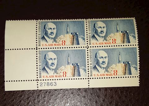 Plate Block of 4-8¢ Robert Goddard Air Mail Stamps