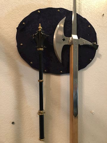 Wood Shaft Poleaxe and 7-Flanged Mace