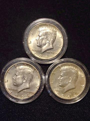 3 1964 Kennedy Silver Half Dollars