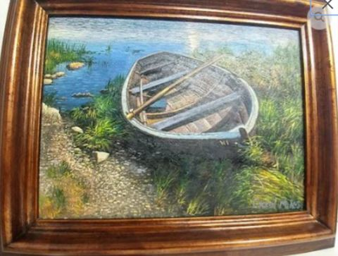 Boat in Water Original Painting Signed