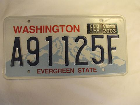 2003 Washington License Plate